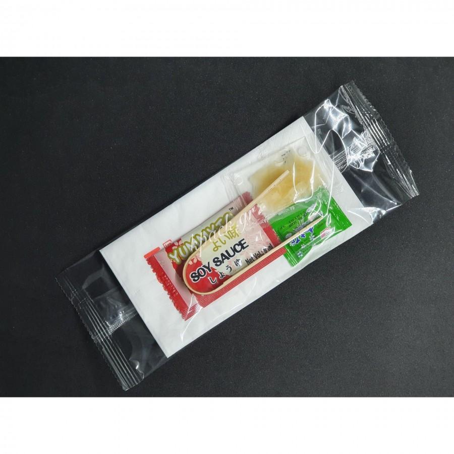 Κουβέρ λαβίδα ξύλινη - πιπερόριζα - wasabi - soy sauce - χαρτοπετσέτα πολυτελείας 2Φ