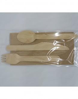 Κουβέρ μαχαίρι πιρούνι κουτάλι ξύλινο – χαρτοπετσέτα πολυτελείας 2Φ eco